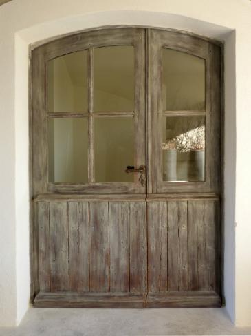 Porte d 39 entr e proven ale tierc e cintr e 6 carreaux porte fen tre tierc e soubassement lames - Porte d entree cintree ...