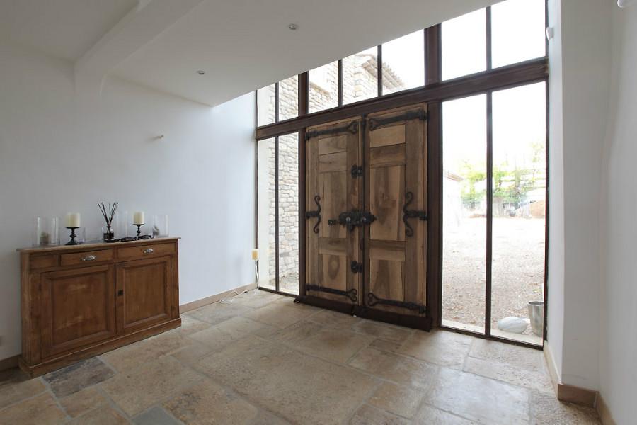 porte d 39 entr e bois dans baie en fer ferronnerie r alisations en fer portes antiques. Black Bedroom Furniture Sets. Home Design Ideas