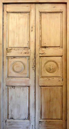 Doubles portes d coratives 3 panneaux tilleul ancien for Porte 5 panneaux shaker