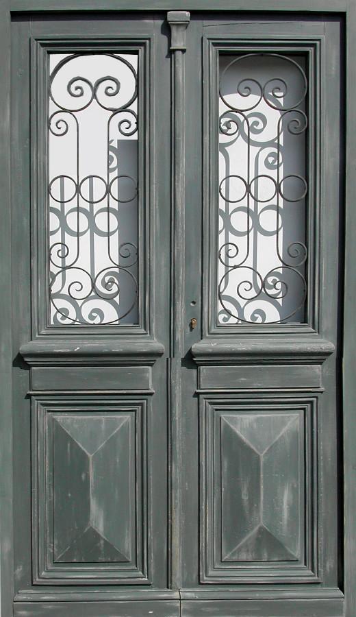 Double Porte Vitrée Avec Grille Portes Dentree Fer Forgé Portes - Double porte d entrée